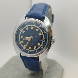 Vintage Westclox Menand039s Automatic Watch 17jewels Blue Dial Date Cal.7005a 1970s