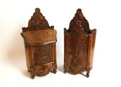 Fabulous Pair Of Antique And Large French Provencal Flour Box And Salt Box