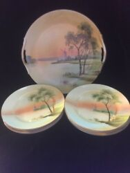 Antique Noritake Hand Painted Water/windmill Plates And Platter Set Nippon Japan