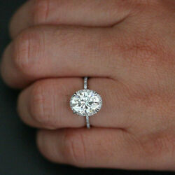 Solid 14k White Gold Lab Created 2.30 Ct Diamond Oval Cut Ring Size 6