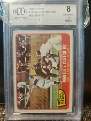 Vintage Bccg Graded 8 1965 Topps 134 Mickey Mantle Ws Game 3