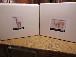 Lot Of 2 Nib 48 Led Warm White Grapevine Standing And Feeding Deer Sculptures