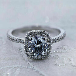 Fine 1.00 Ct Diamond Engagement Ring Solid 14k White Round Gold Rings Size 8 7