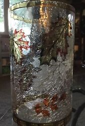 New Yankee Candle Crackle Glass Fall Leaves Jar Or Pillar Candle Holder
