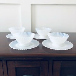Four Macbeth Evans Petalware Sherbet Dishes With Under Plates