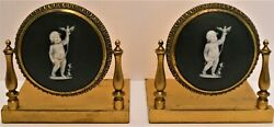 ⭐ E F Caldwell, Wedgwood Large Medallion Bronze Gild Bookends W. Bill.