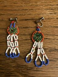 Vintage Native American Indian Beadwork Earnings Dream Catcher Pacific Northwest