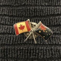 Australian And Canadian Flag Lapel Pin Tie Tack Pin Back Vintage