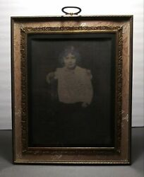 Antique Framed Photo Portrait Little Girl Marshall Fields Tag Ornate Intricate