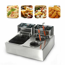 110v 2-in-1 Noodle Pasta Cooking Machine Countertop Deep Fryer Double Cylinder