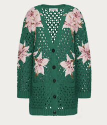 Valentino Lilium-embroidered Cotton Cardigan Jacket -with Tags- Rrp4800 Aud