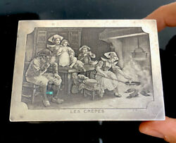 """Antique French Silver Plated Jewellery Box """"les Crepes"""" Engraved"""
