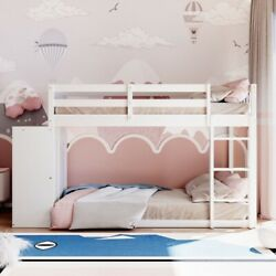 Gfd Home - Twin Over Twin Bunk Bed With 4 Drawers And 3 Shelves-white - Lp000...