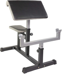 Home Gym Adjustable Arm Preacher Curl Pad Bar Stand Fitness Workout Weight Bench