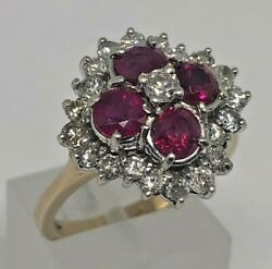 Vintage 9k Yellow Gold, Ruby And Diamond Cluster Ring - Size O - Weight 5.28g