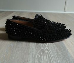 Menand039s Christian Louboutin Black Rollerboy Spike Loafers - 42.5