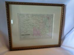 Antique Framed And Matted Indian Territory Map - Circa 1880 - Free Shipping