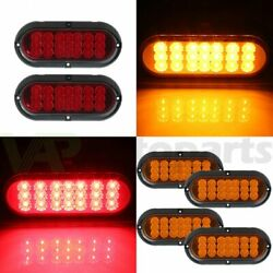 4x 6 21 Led Rubber Yellow + 2x Red Tail Signal Light Universal Trailer Truck
