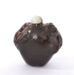 1930's Chinese Amber Carved Carving Snuff Bottle With Tiger