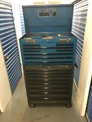 Matco Rolling Toolbox - Top 6 Drawer Black And Bottom 8 Drawer Blue Cabinet Used