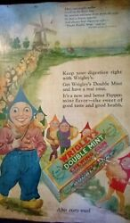 1928 Wrigley's Double Mint Peppermint Chewing Gum Mother Goose Poem Ad Wooden