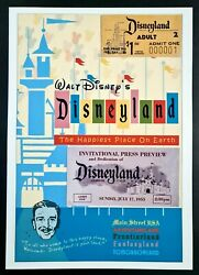 Reproduction Poster And Tickets Disneyland July 17, 1955 - Disney Opening Day