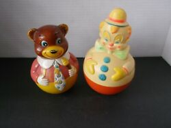 Vintage 1977 Sanitoy Jingle Clown And 1972 Bear Roly Poly Musical Toy