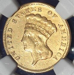 Rare 1871 3 Gold Indian Princess Coin Ngc Vf Details Only 1300 Minted