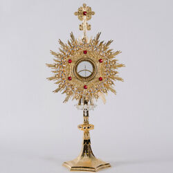 Silver / Gold Plated Church Monstrance - Red Stones/glass Enclosed Luna - Cu210