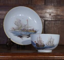 Meissen Cup And Saucer Naval Battle C.1765