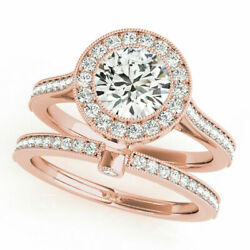 Round Cut 1.15 Ct Real Diamond Wedding Band Set Solid 14k Rose Gold Size 5 6 7 8
