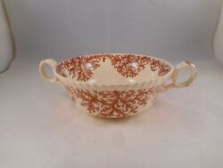Vintage Cream Soup Bouillon Bowl, Copeland Spode China, Coral Red-brown Pattern