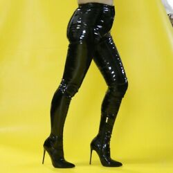 Sexy Women Nightclub Patent Leather Stilettos Pointed Toe Pants Boots Size 34-44