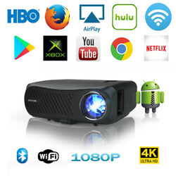 8500lm Native 1080p Projector Android 4k Video With 5g Wifi Blue-tooth Hdmi Usb