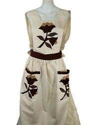 Vintage Quilted Flower Apron Pocket Full Coverage Brown Cream Plus