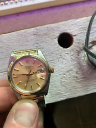 Vintage Rolex 34mm Watch Oyster Perpetual Date Ref 1550 Gold-plated Steel Case