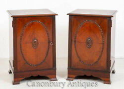 Pair Victorian Side Cabinets - Mahogany Nightstands 1880