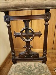 Antique French Prie Dieu Cross Prayer Chair Art Religious Carved