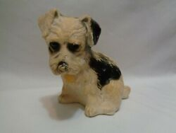 Old Carnival Chalkware Black amp; White Puppy Dog Chalk Plaster 5 inches