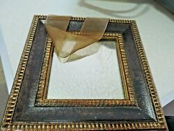 Lovely Antiqued 8 inch Square Decorative Mirror ribbon hanger