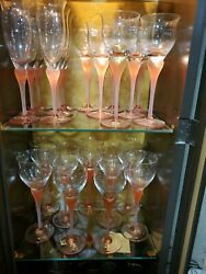 Vintage Mikasa Sea Mist Coral Frosted Hand Blown Crystal Stemware