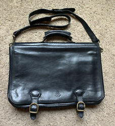 FIRENZE Heavy Leather Gusset Briefcase Messenger Bag Laptop Italy Black $79.99