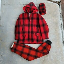 Vintage 60s Jcpenney Hunting Apparel Buffalo Plaid Wool Jacket Pants Hat Xl 34