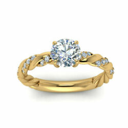 Round Cut 0.70 Ct Real Diamond Bridal Engagement Ring 14k Yellow Gold Size 5 6 7