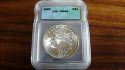1886 Morgan Silver Dollar Ms66 Icg Certified Gorgeous With Tone 1