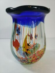 Art Glass Hand Blown Clear And Cobalt With Fused Tropical Goldfish Vase 6 Tall