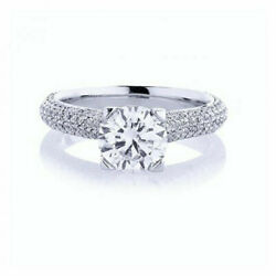 Round 1.50 Ct Real Diamond Engagement Bridal Rings 14k Solid White Gold Size 5 6