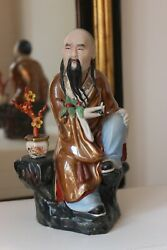 Old Jingdezhen Chinese Porcelain Figurine Of Wiseman With Bonsai
