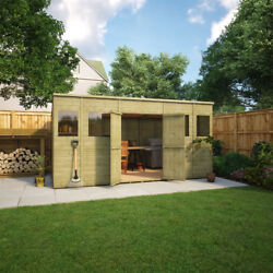 14 X 8 Pent Wooden Garden Shed Pressure Treated With Central Double Door 14x8