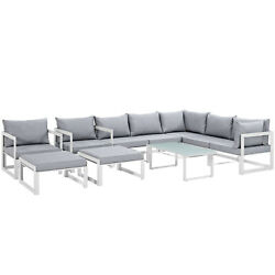 Modway Fortuna 10 Piece Outdoor Patio Sectional Sofa Set Eei-1720-whi-gry-set